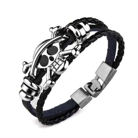 Goth Topics Skull & Beads Punk Style Dual Band Bracelet