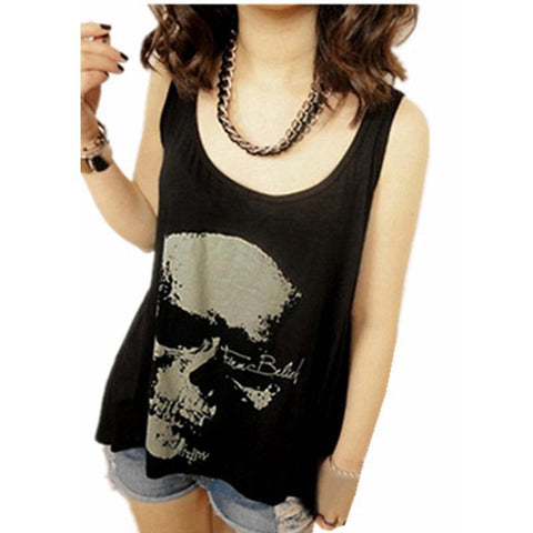 Goth Topics Sexy Gothic Skull Backless Tank