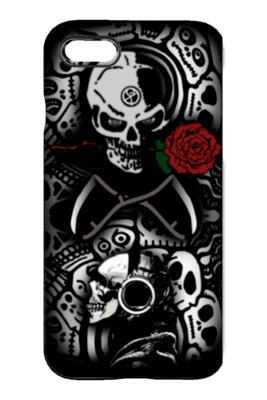 Goth Topics Skull With Headset & Rose iPhone Protective Case
