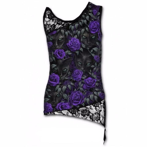 Goth Topics Sleeveless Punk Style Cat Top With Lace Patchwork