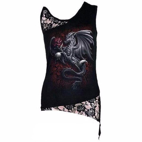 Goth Topics Sleeveless Punk Style Dragon Rose Top With Lace Patchwork