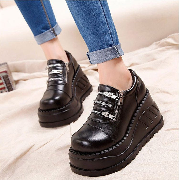 Goth Topics Genuine Leather Demonia Style Black Chunky Ankle Boots