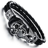 Goth Topics Titanium Stainless Steel Punk Skull with Cubic Zirconia Bracelet