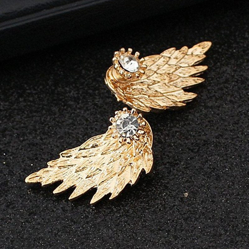 Women's Angel Wings Stud Earrings Rhinestone Inlaid - GothTopics