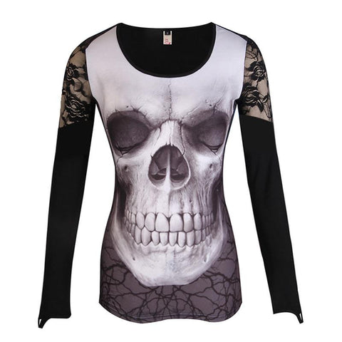 Goth Topics Skull Shoulder Lace Patchwork Long Sleeve Top