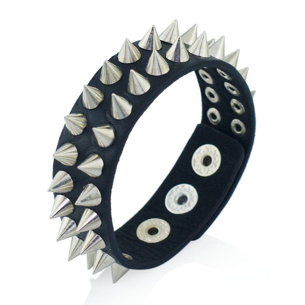 Punk Spiked Rivet Cone Stud Black Leather Bracelet - GothTopics