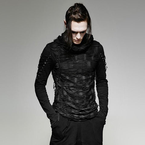 Goth Topics Avant Garde Gothic Double Layer Irregular Hooded Top