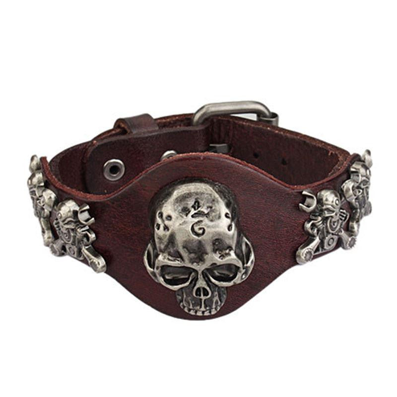 Punk Evil Skull Genuine Leather Wide Bracelet