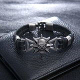 Goth Topics Punk Style Leather Roaring Skull Head Bracelet