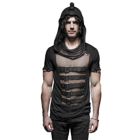 Goth Topics Men's Steampunk Hollow Out Belted Hooded Mesh Top