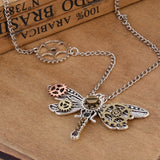 Vintage Antique Silver Dragonfly Pendant Steampunk Gears Necklace - GothTopics