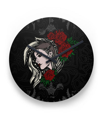 Woman's Face and Roses Wall Clock - GothTopics