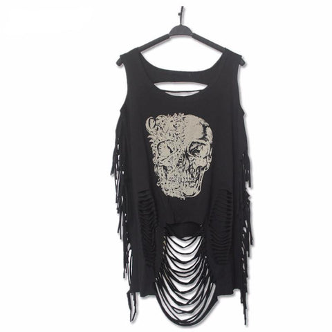 Goth Topics Punk Rock Hollowed-Out Sleeveless Skull Top