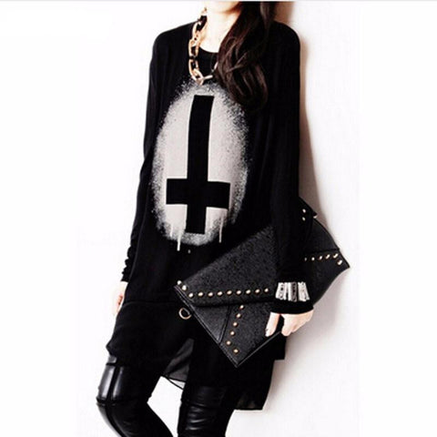 Goth Topics Punk Style Cross Long Sleeve Top