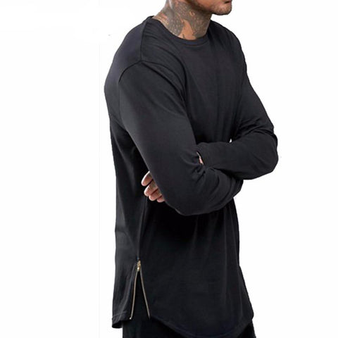 Goth Topics Men's Swag Side Zipper Long Sleeve Top