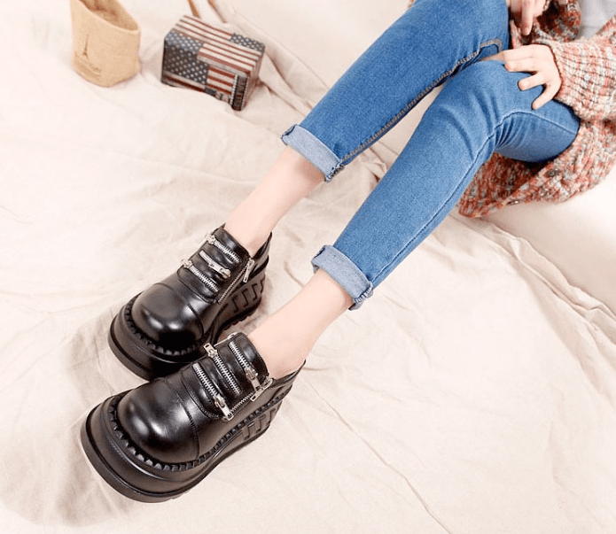 Women's Genuine Leather Demonia Style Black Chunky Ankle Boots
