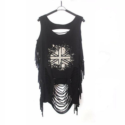 Goth Topics Punk Rock Hollowed-Out Sleeveless U.K. Top