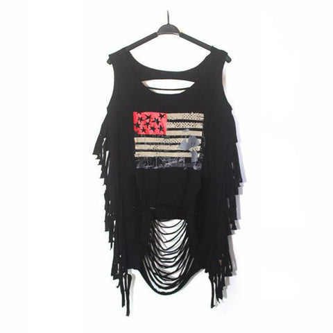 Goth Topics Punk Rock Hollowed-Out Sleeveless U.S.A. Top
