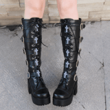 Harajuku Platform Chunky Heel Cosplay Boots Black Leather With Buckle