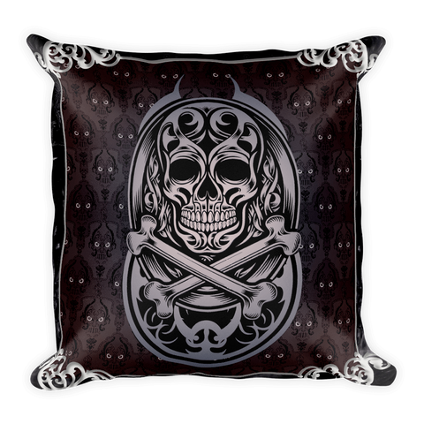 Goth Topics Skull & Crossbones Gothic Style Square Pillow