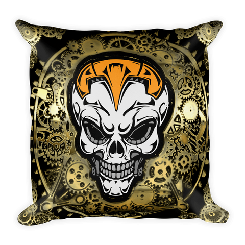 Goth Topics Steampunk Skull & Gears Square Pillow
