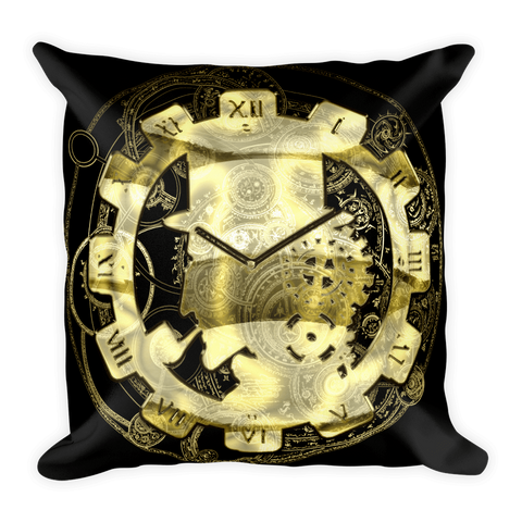 Goth Topics Steampunk Gear Clock Square Pillow