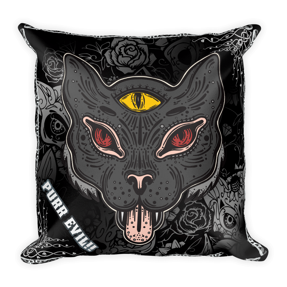 Goth Topics Purr Evil Goth Style Cat Square Pillow