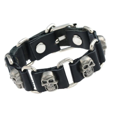 Goth Topics Punk Style Silver Plated Skull Leather Bracelet