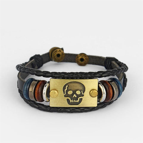 Goth Topics Punk Style Braided Leather Ancient Bronze Skull Bracelet