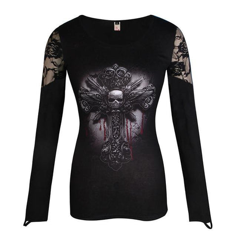 Goth Topics Cross Shoulder Lace Patchwork Long Sleeve Top