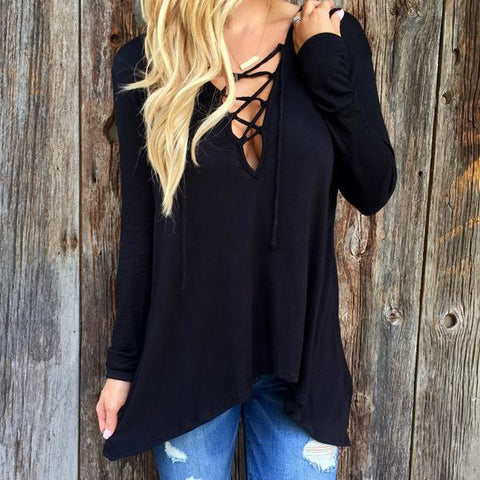 Goth Topics Sexy Hollow Out Lace Up Gothic Long Sleeve Top