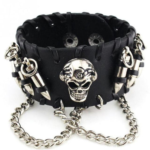 Goth Topics Skull & Bullet Leather Cuff Bracelet