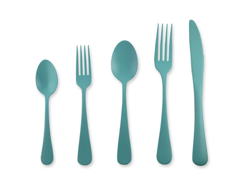 Zinnia 20-piece Flatware Set in Turquoise
