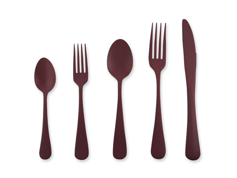 Zinnia 5-piece Flatware Place Setting in Merlot