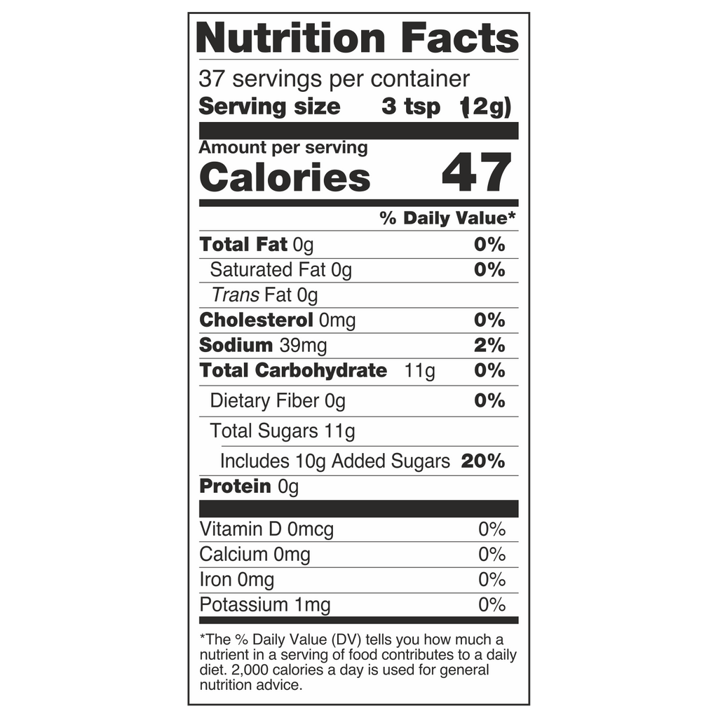 Diabliss Mango Splash Nutrition Label