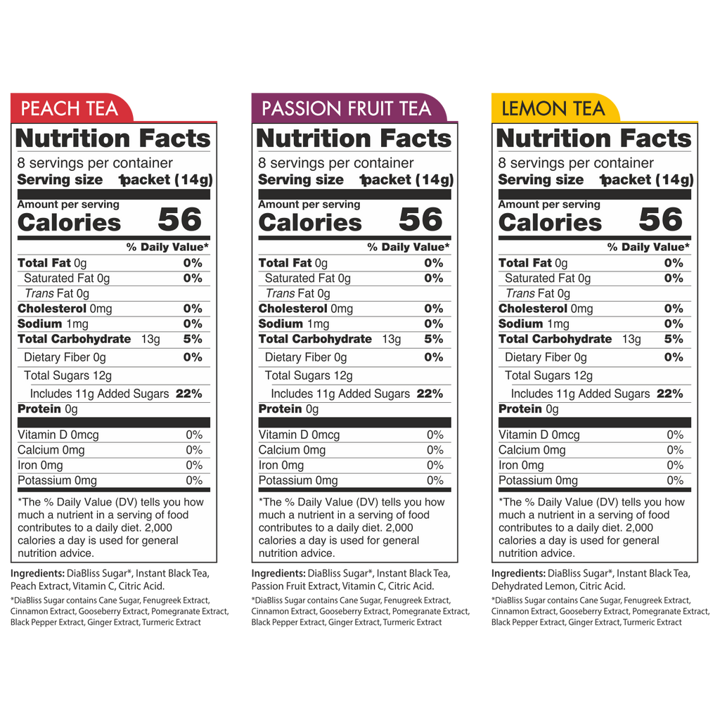 Diabliss Instant Fruit Tea Nutrition Facts