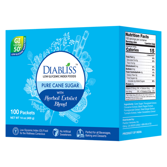 Diabliss Pure Cane Sugar Box of 100 Count