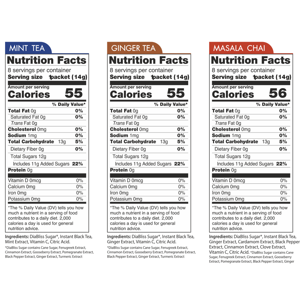 Diabliss Spice Black Tea Variety Pack Nutrition Facts