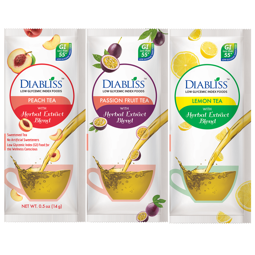 Diabliss Fruit Tea Flavors - Peach, Passion Fruit & Lemon