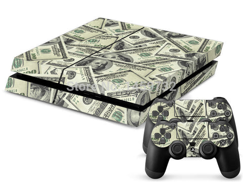 US dollar PS4  Console Skin + 2 free Controller Stickers skins