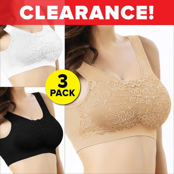Cami-Lace Lift Bra, 3-Pack (1 White, 1 Nude, & 1 Black)