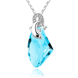 Seize the Moment Dolphin Necklace - Aqua Blue