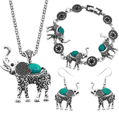 Elephant Grace Jewelry Set - Aqua