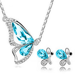 Freedom Butterfly Jewelry Set - Crisp Blue