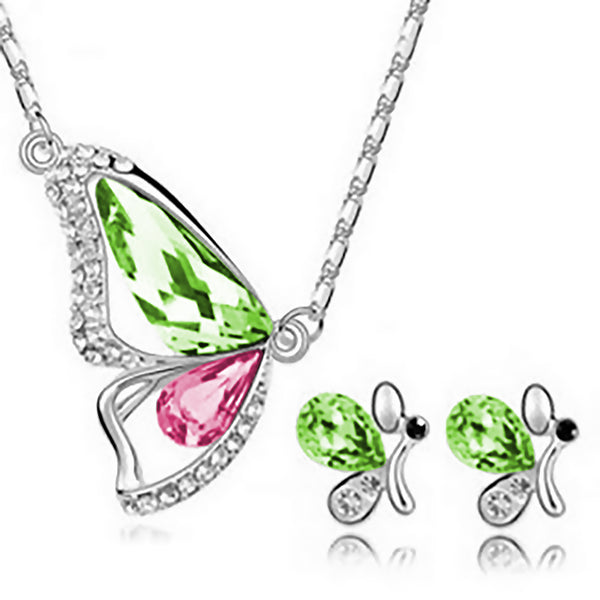 Freedom Butterfly Jewelry Set - Green & Pink