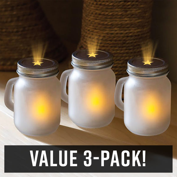 Frosted Jar Star-Lights, 3-Pack