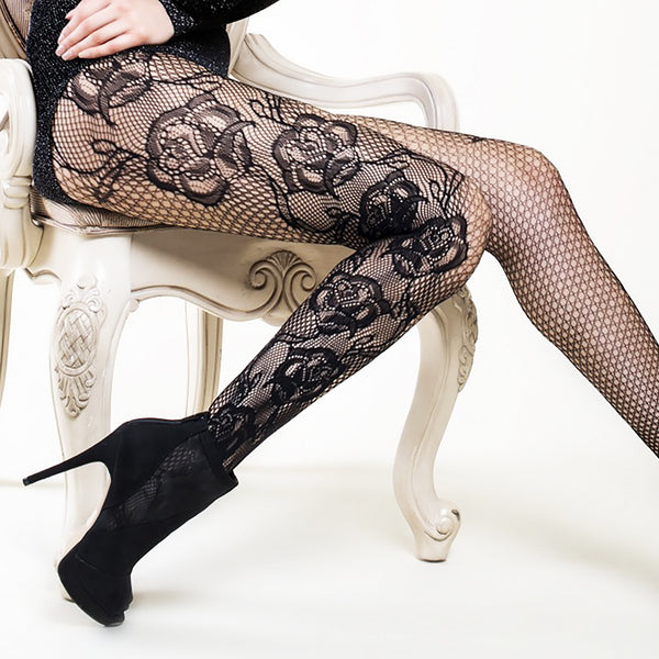 Rising Roses Pantyhose (Also in Queen Size)
