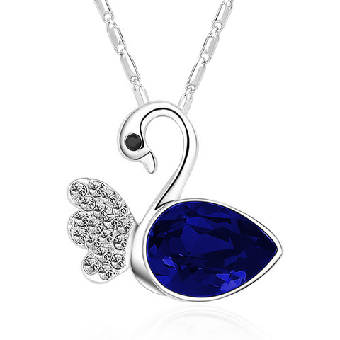 Serenity Swan Necklace - Blue