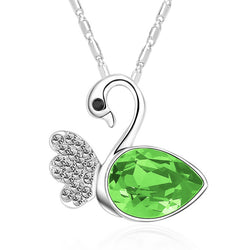 Serenity Swan Necklace - Green