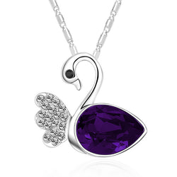 Serenity Swan Necklace - Purple